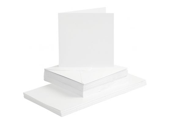 Kort & Kuverter A6 50 sæt - Hvid