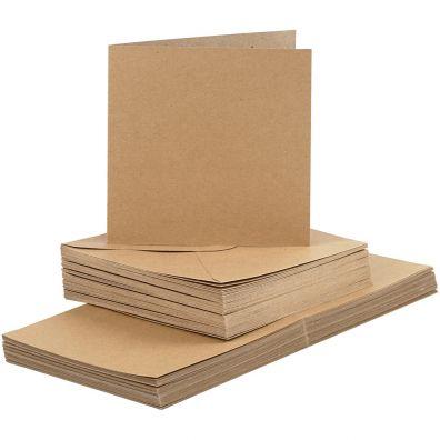Add On Januar - Kort & Kuverter 15x15cm 50 sæt - Kraft