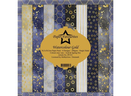 Paper Favourites - Watercolour Gold - 12x12 Paper Pack