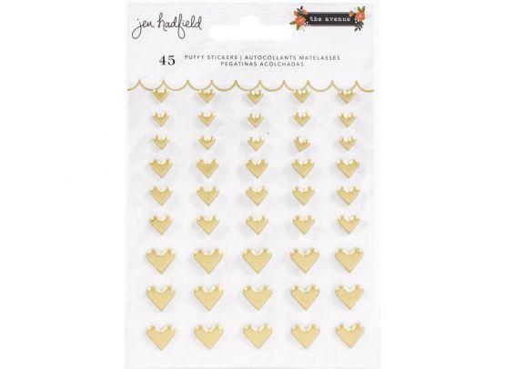 Jen Hadfield - The Avenue Stickers - Puffy Gold Hearts