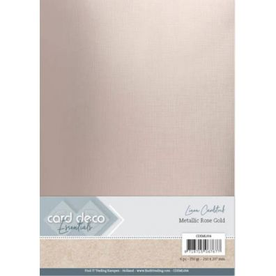 Card Deco Essentials - Linen Cardstock - Metallic Rose Gold
