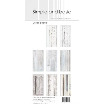 Simple and Basic - Design Papers - White Wood 15x15 cm