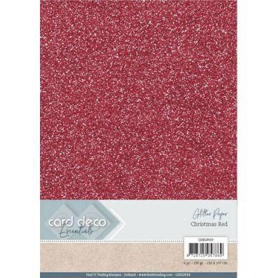 Card Deco Essentials - A4 Glitter Paper - Bordeaux
