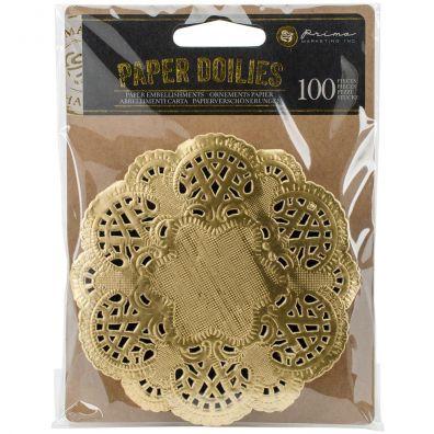 Prima Marketing - Paper Doilies - Round Gold - 100 stk.