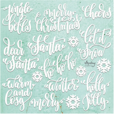 Mintay Chippies - Decor - Christmas Words 12x12 Chipboard