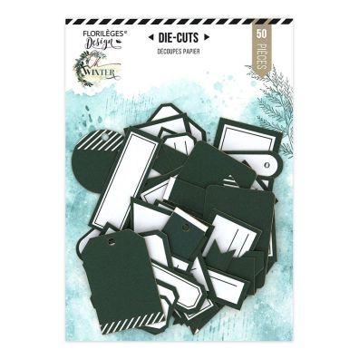 Add on Oktober - Etiketter mørk grøn/hvid Die Cuts fra Florileges Design