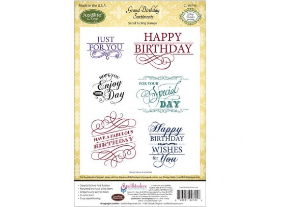 JustRite Cling Stamps - Grand Birthday