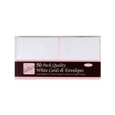 Kort & Kuverter 13,5x13,5 cm 50 sæt - Hvid