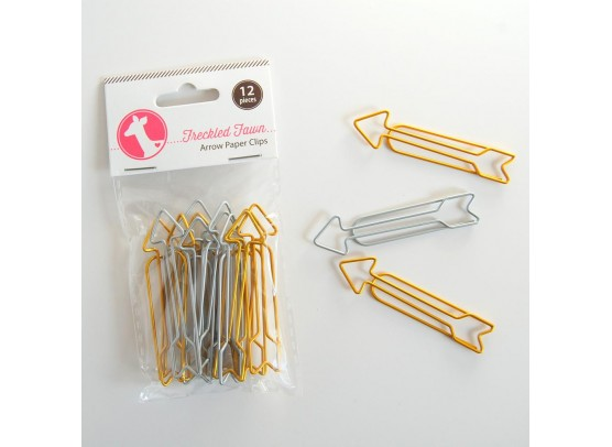 Freckled Fawn Arrow paper Clips - Gold/silver