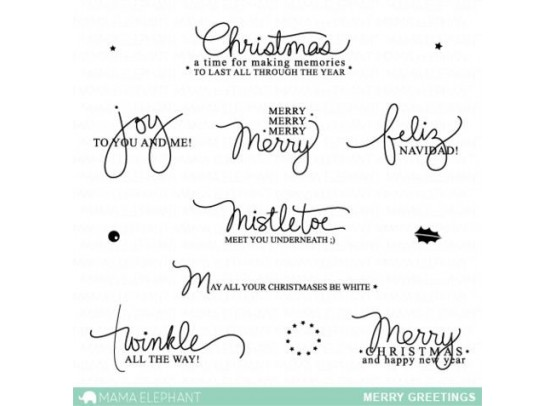 Mama Elephant Clear stamps - Merry Greetings
