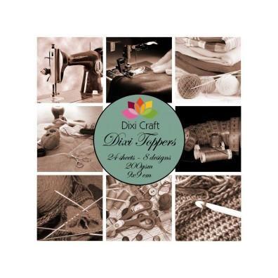 Dixi Craft Toppers 9x9 cm - 24 stk. Håndarbejde Sepia