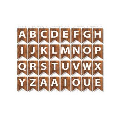 Woodgrain banner Alphabet - 32 stk