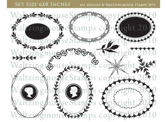 Waltzing Mouse Stamps - Ovals Classic Frames