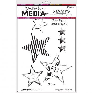 Dina Wakley Cling Stamp - Grungy Stars