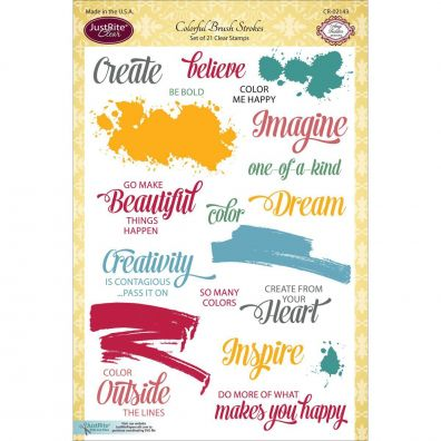 JustRite Clear Stamps - Colorful Brush Strokes