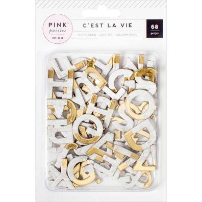 Pink Paislee Cest la Vie Chipboard Alphabet