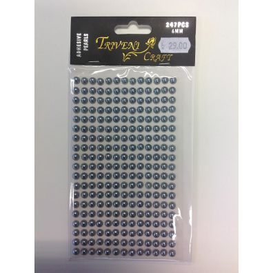 Triveni Crafts - 6 mm Adhesive Pearls grå