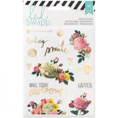 Heidi Swapp Memory Planner Clear Floral Stickers