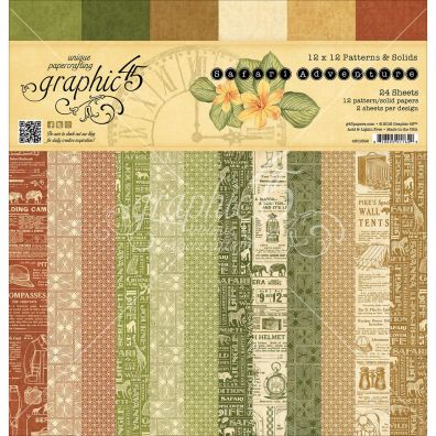 Graphic 45 Safari Adventures Patterns & Solids 12x12 Paperpad