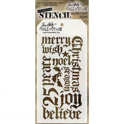 Tim Holtz Stencil/ Mask – Holiday Script