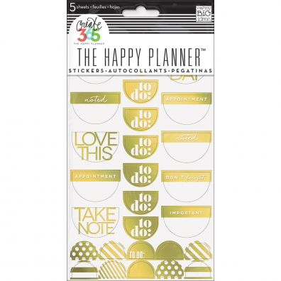 Create 365 Happy Planner Stickers -Take Note Guld folie