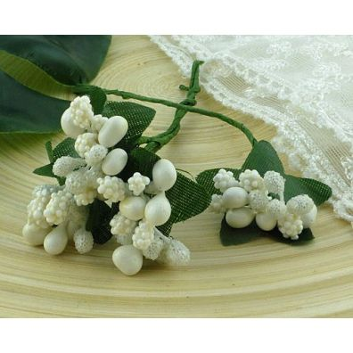 Bead Berry Spray Cluster White