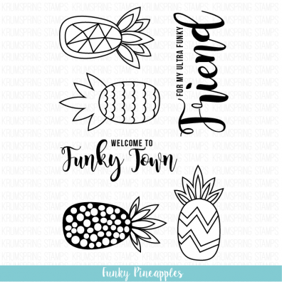 Krumspring clear stamp - Funky pineapples