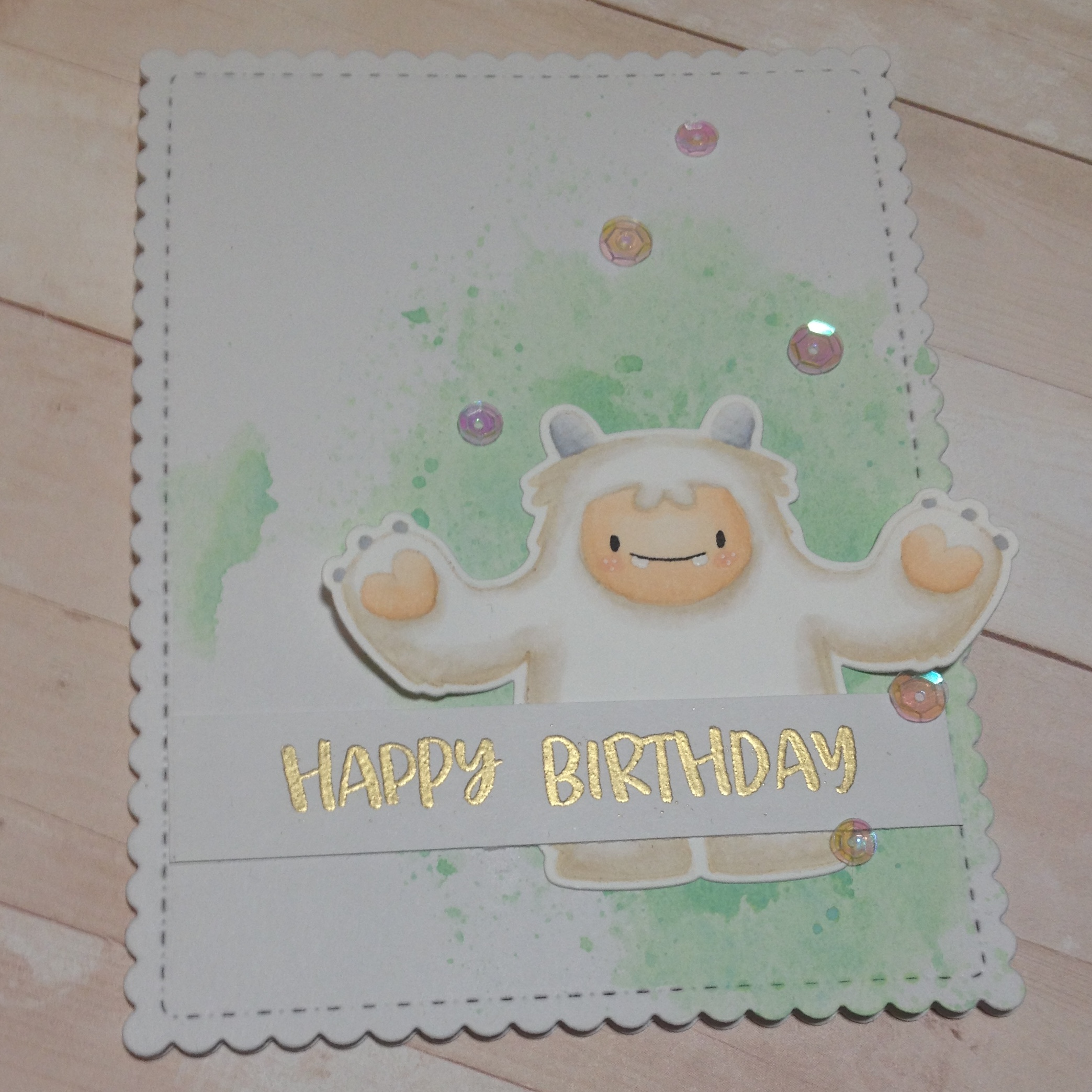 Yeti fødselsdags kort