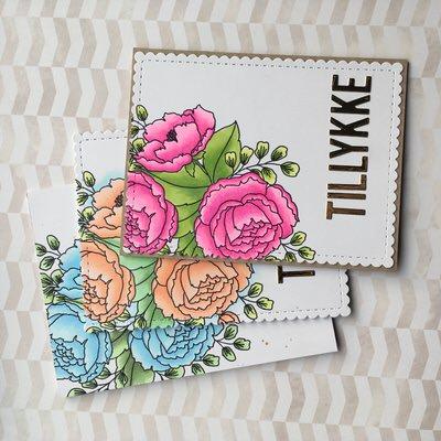 Tillykke kort med blomster fra Mama Elephant