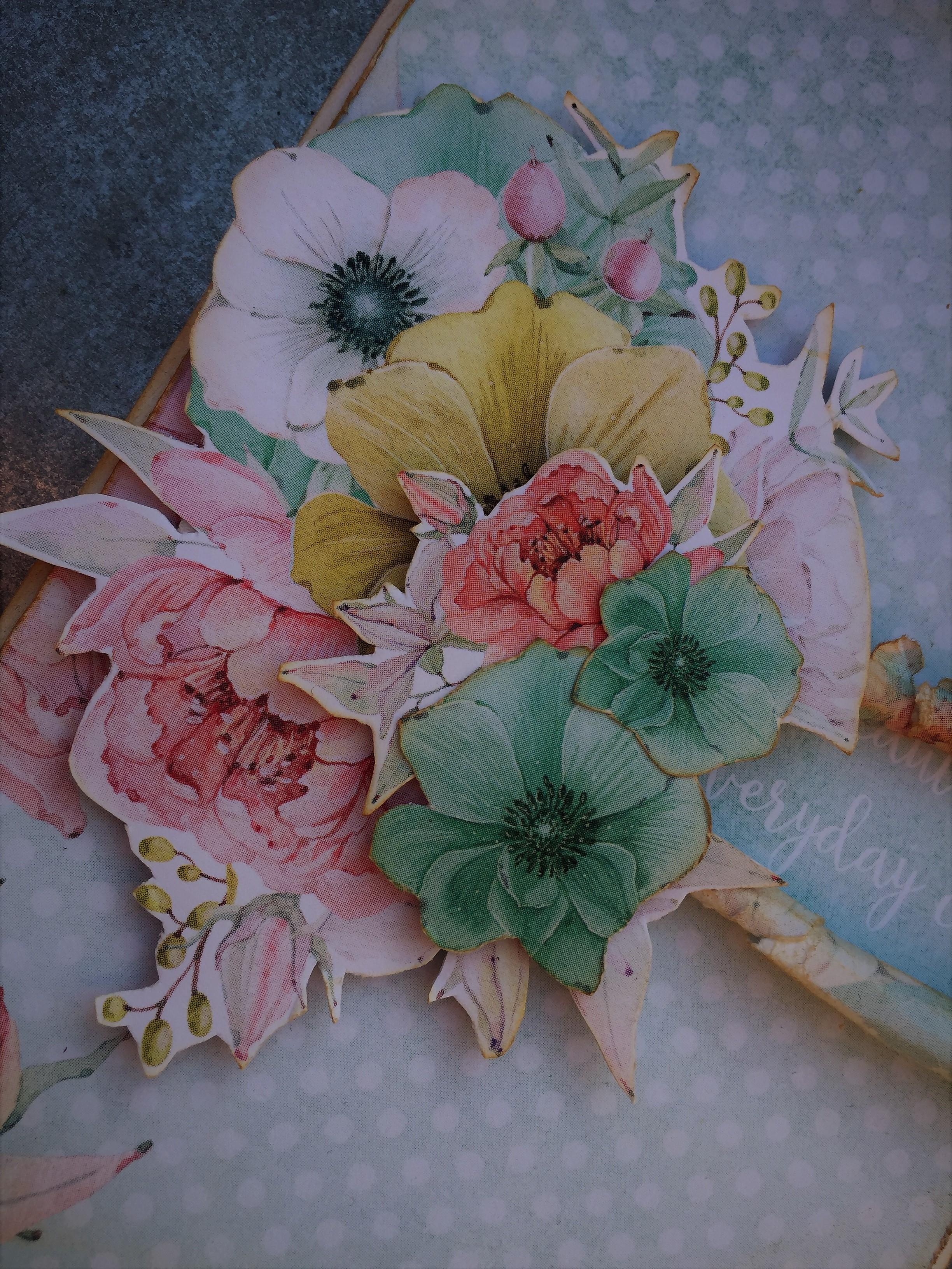 Romantisk blomsterkort i pastel