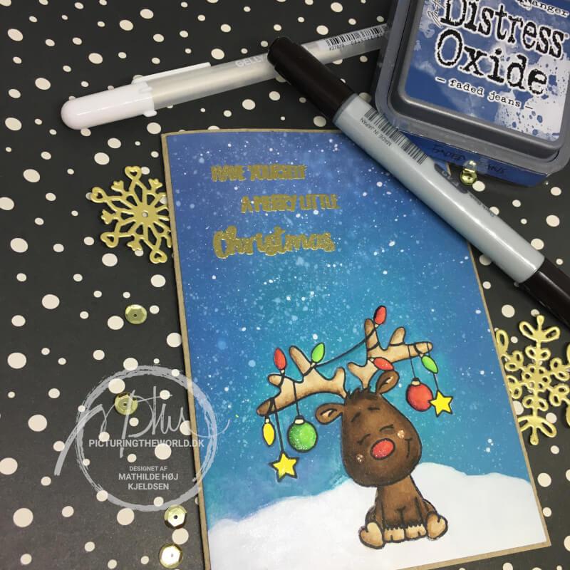 Et julekort med Oxide baggrund