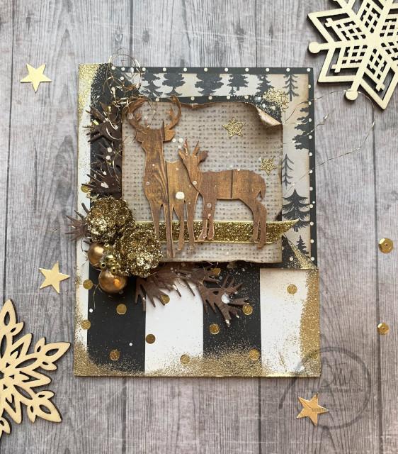 Julekort med MASSER af glitter