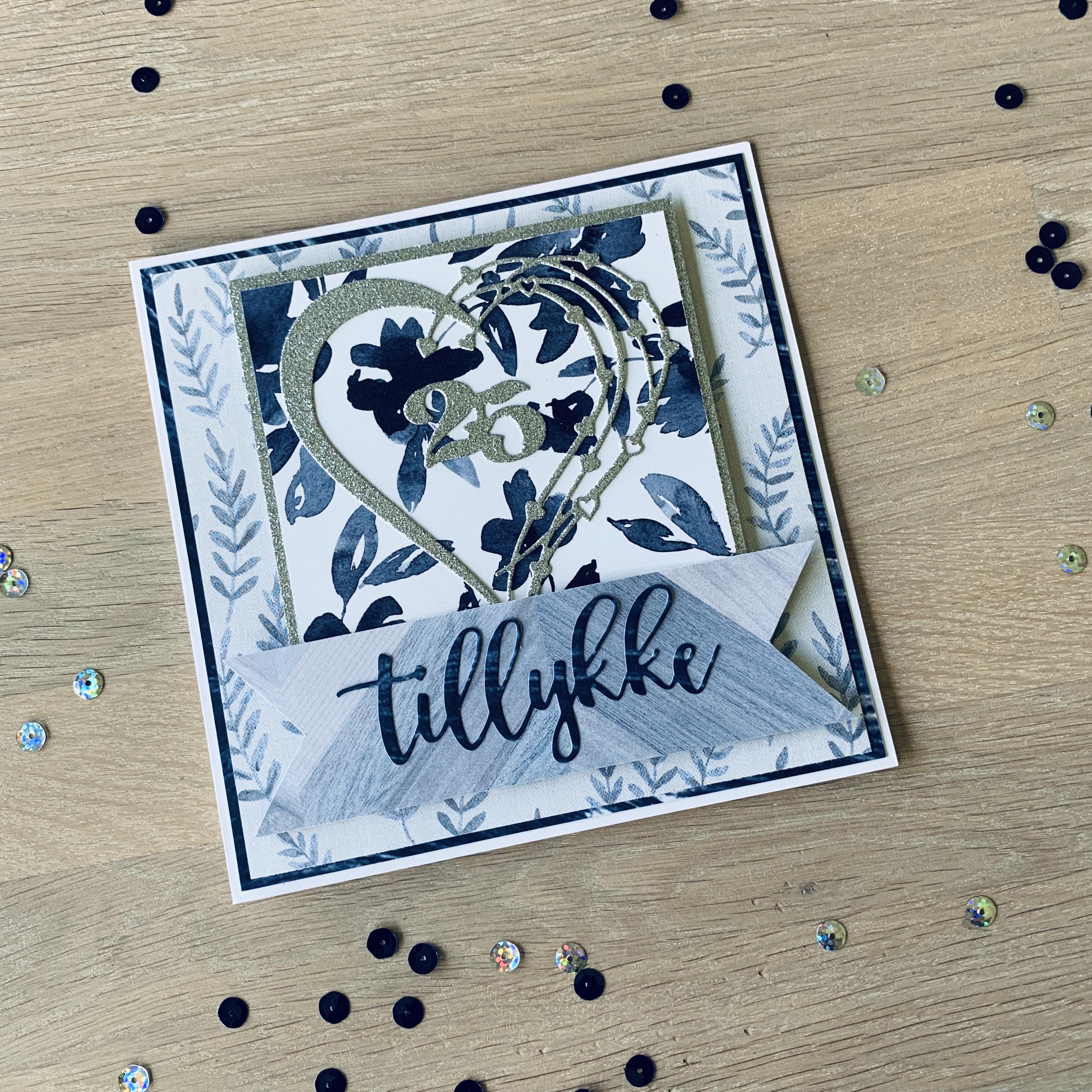 Sølvbryllupskort med septemberkittet
